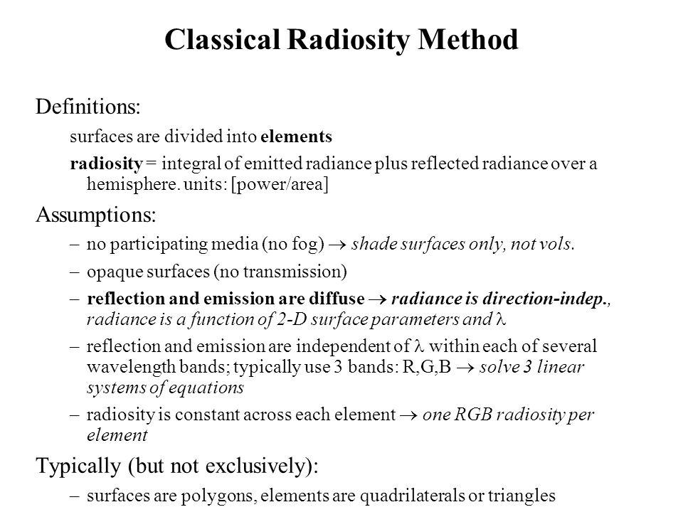 Classical Radiosity Method