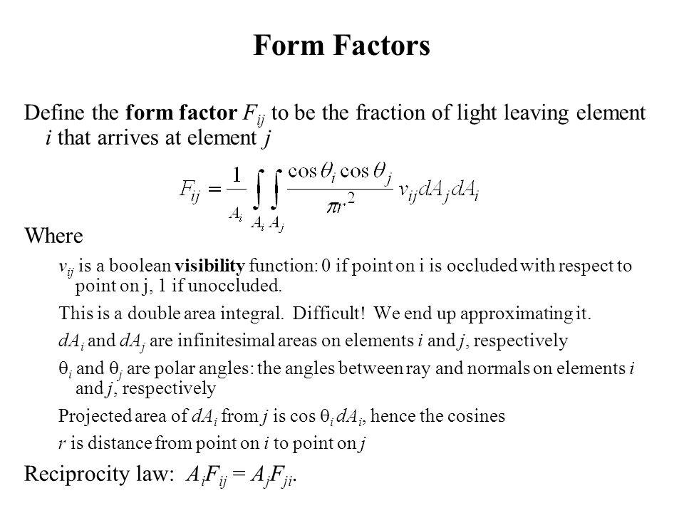 Form Factors Define the form factor Fij to be the fraction of light leaving element i that arrives at element j.