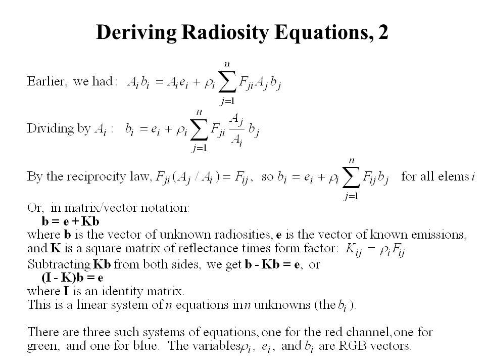 Deriving Radiosity Equations, 2