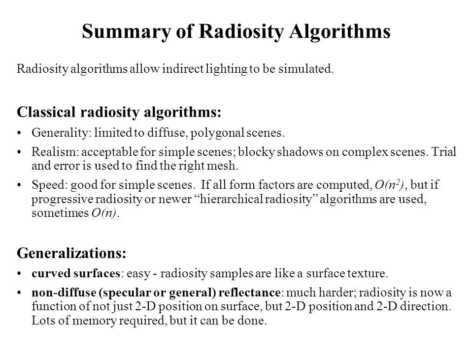 Summary of Radiosity Algorithms