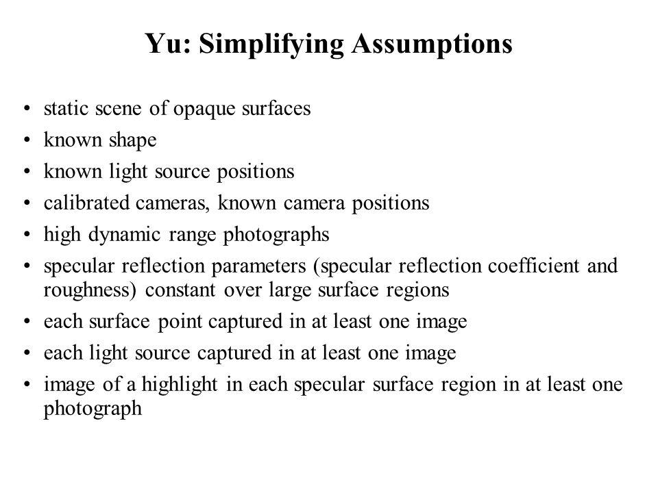 Yu: Simplifying Assumptions