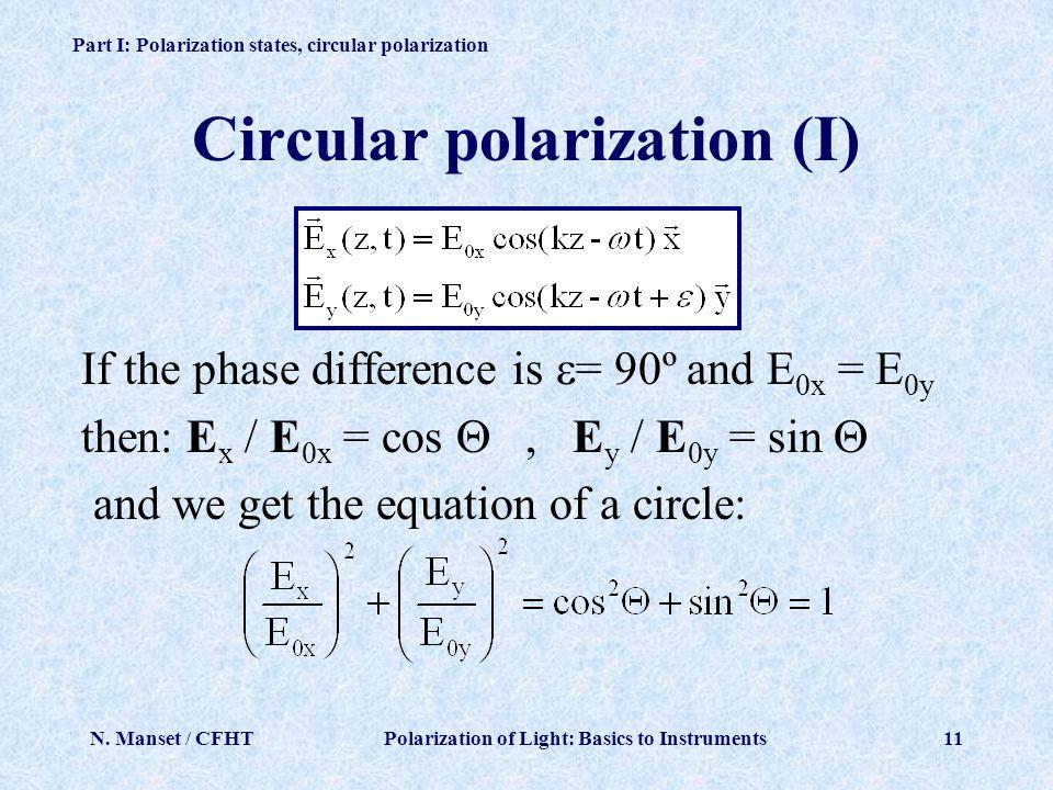 Circular polarization (I)