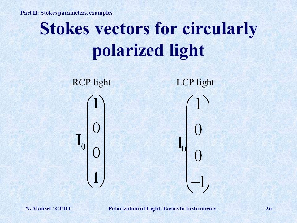 Stokes vectors for circularly polarized light