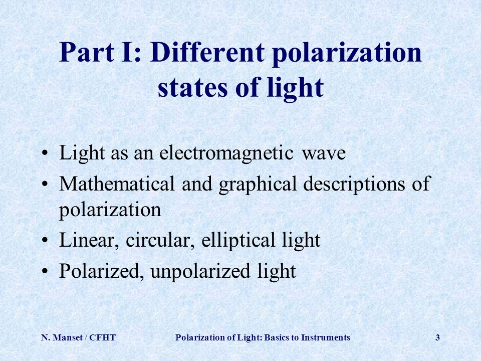 Part I: Different polarization states of light