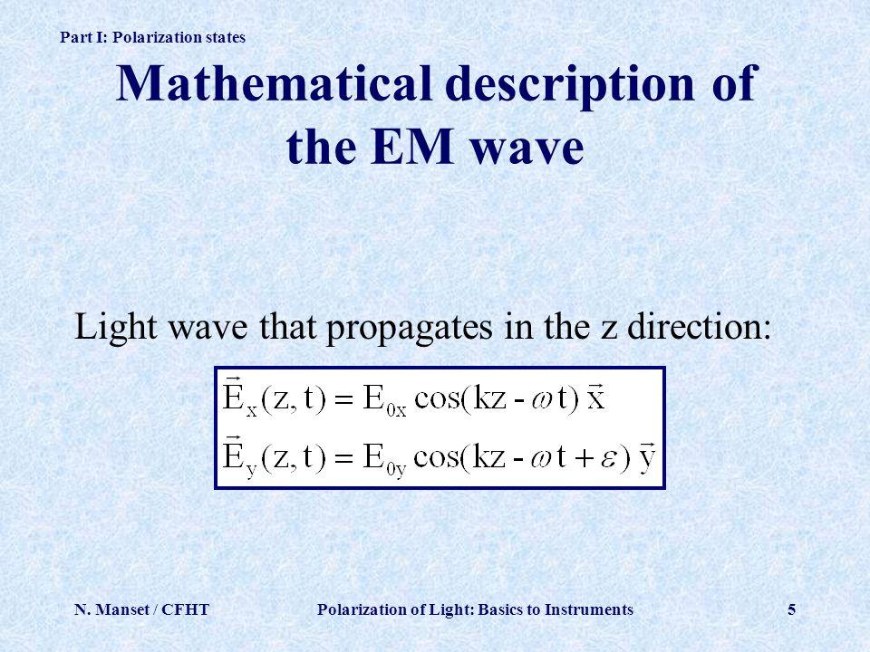 Mathematical description of the EM wave