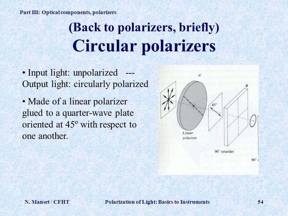(Back to polarizers, briefly) Circular polarizers