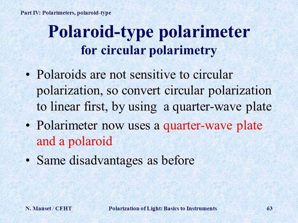 Polaroid-type polarimeter for circular polarimetry
