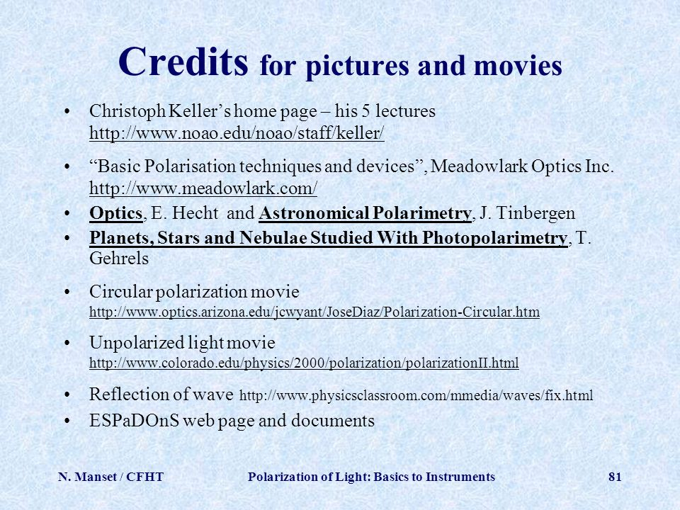 Credits for pictures and movies