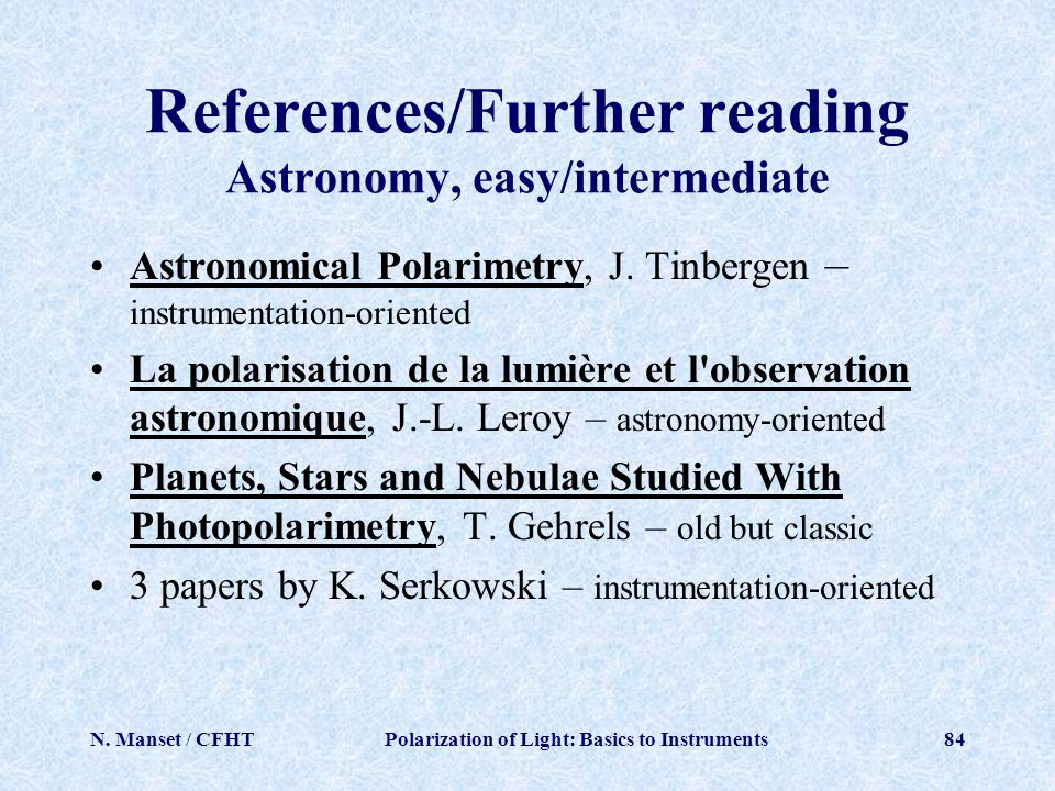 References/Further reading Astronomy, easy/intermediate