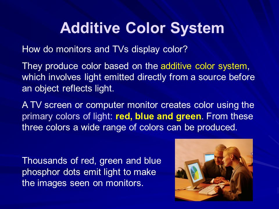 Additive Color System How do monitors and TVs display color