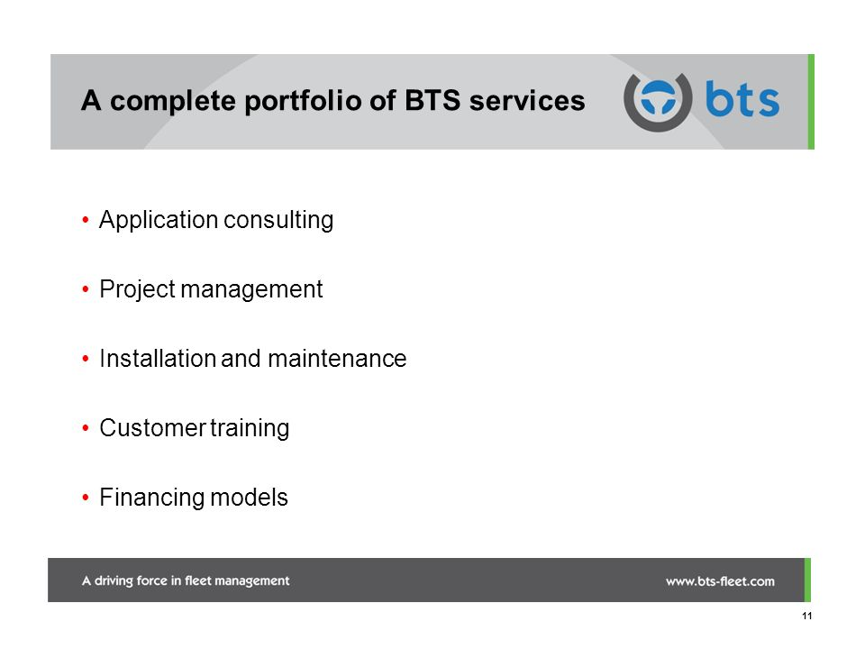 A complete portfolio of BTS services
