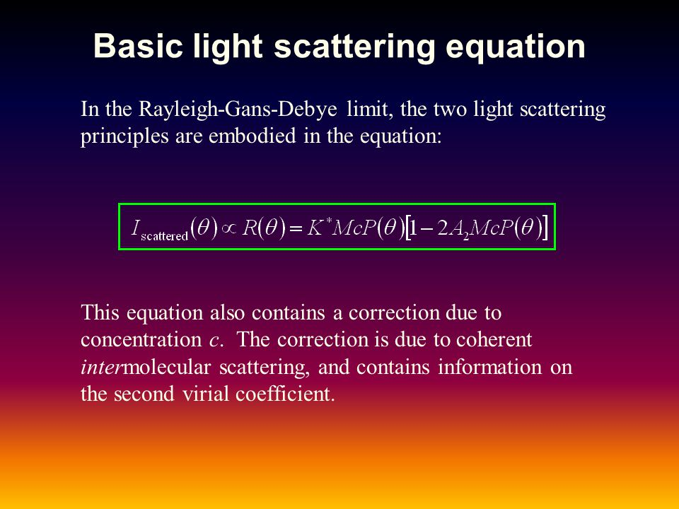 Basic light scattering equation