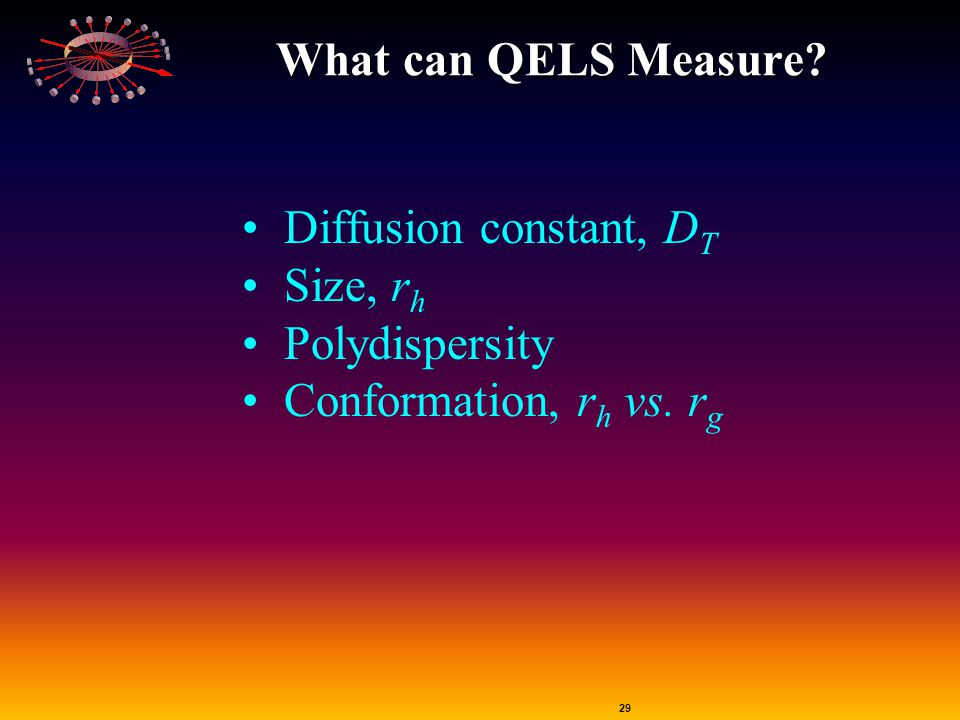 What can QELS Measure Diffusion constant, DT Size, rh Polydispersity