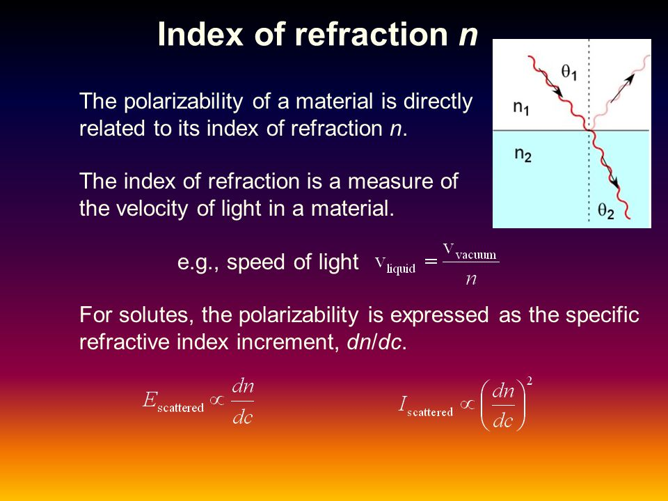 Index of refraction n The polarizability of a material is directly