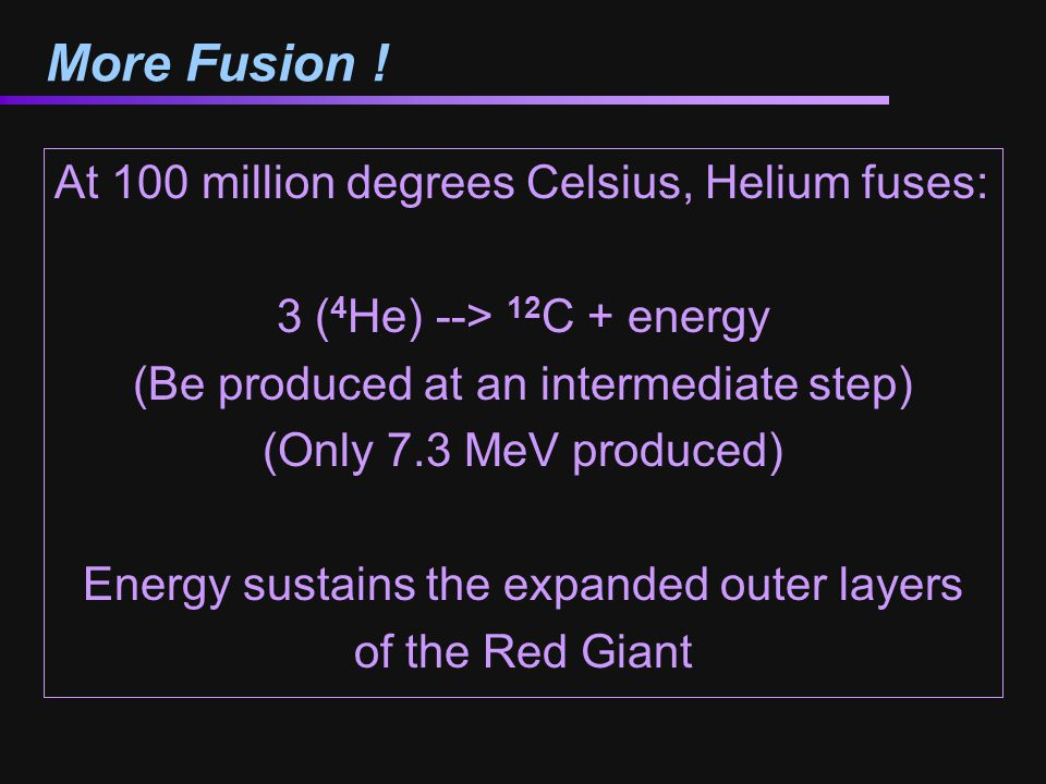 More Fusion ! At 100 million degrees Celsius, Helium fuses: