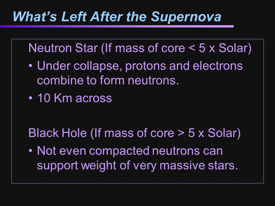 What's Left After the Supernova