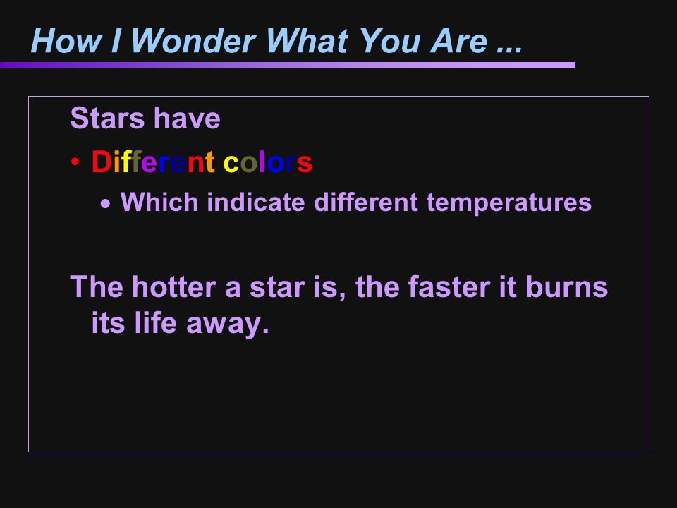 How I Wonder What You Are ...