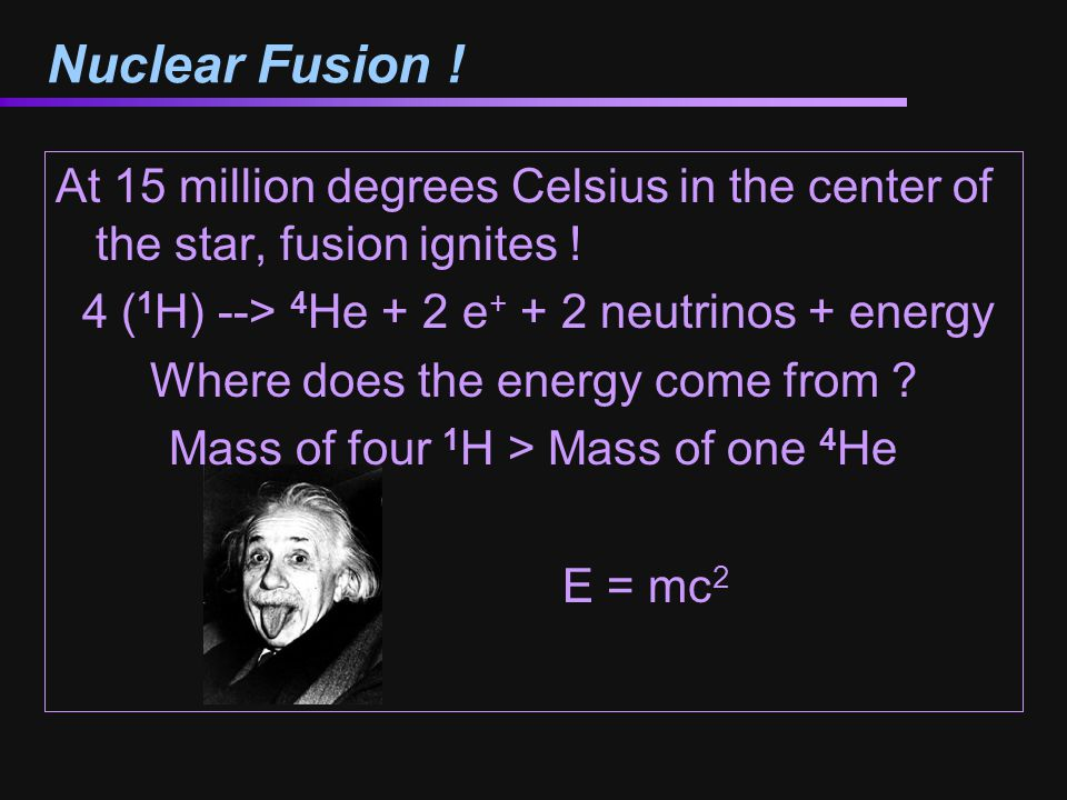Nuclear Fusion ! At 15 million degrees Celsius in the center of the star, fusion ignites ! 4 (1H) --> 4He + 2 e+ + 2 neutrinos + energy.