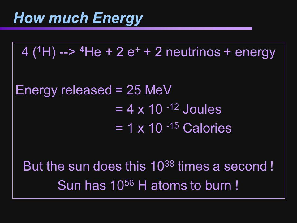How much Energy 4 (1H) --> 4He + 2 e+ + 2 neutrinos + energy