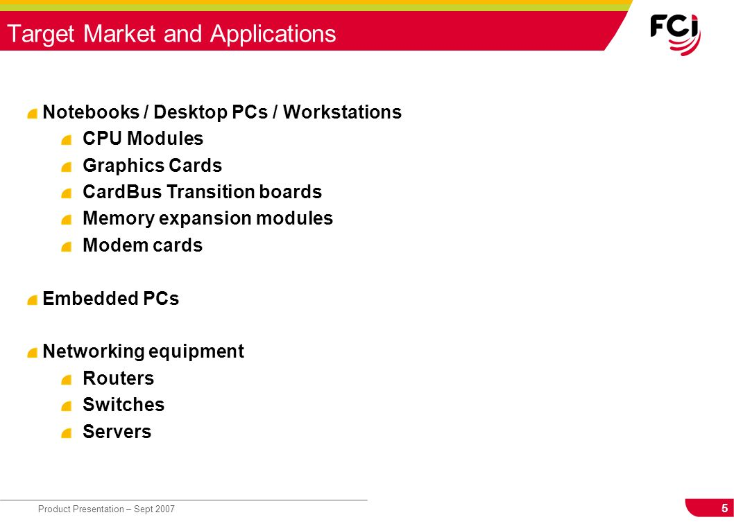 Target Market and Applications