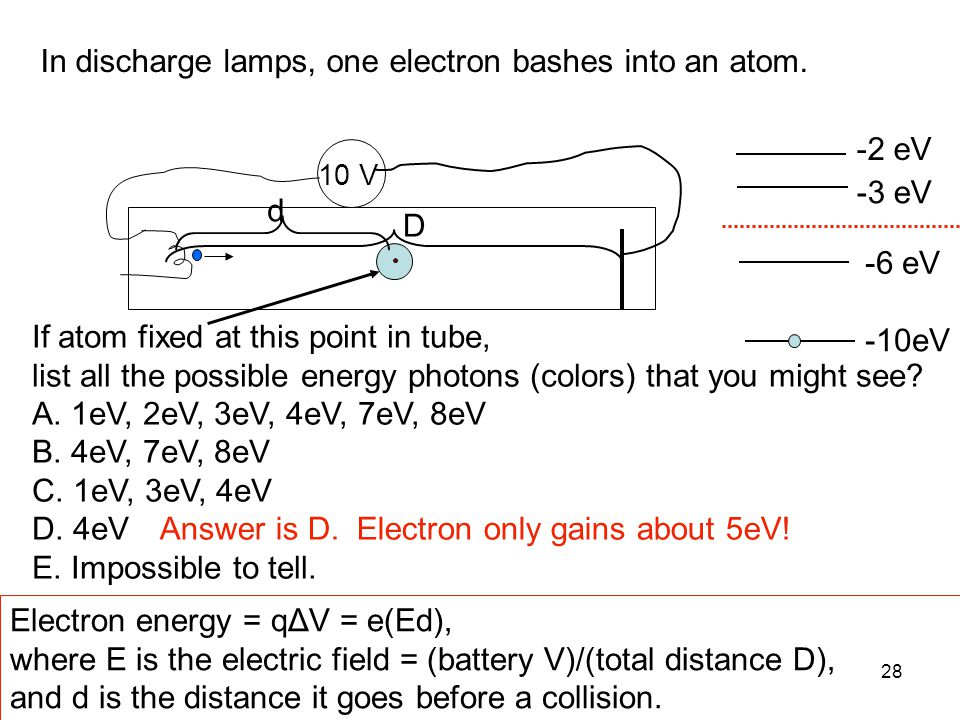 In discharge lamps, one electron bashes into an atom.