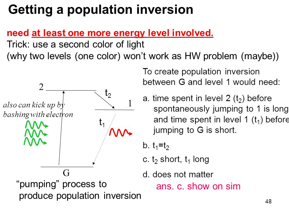 Getting a population inversion
