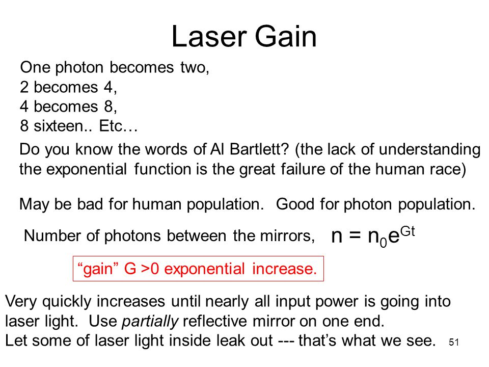Laser Gain One photon becomes two, 2 becomes 4, 4 becomes 8,