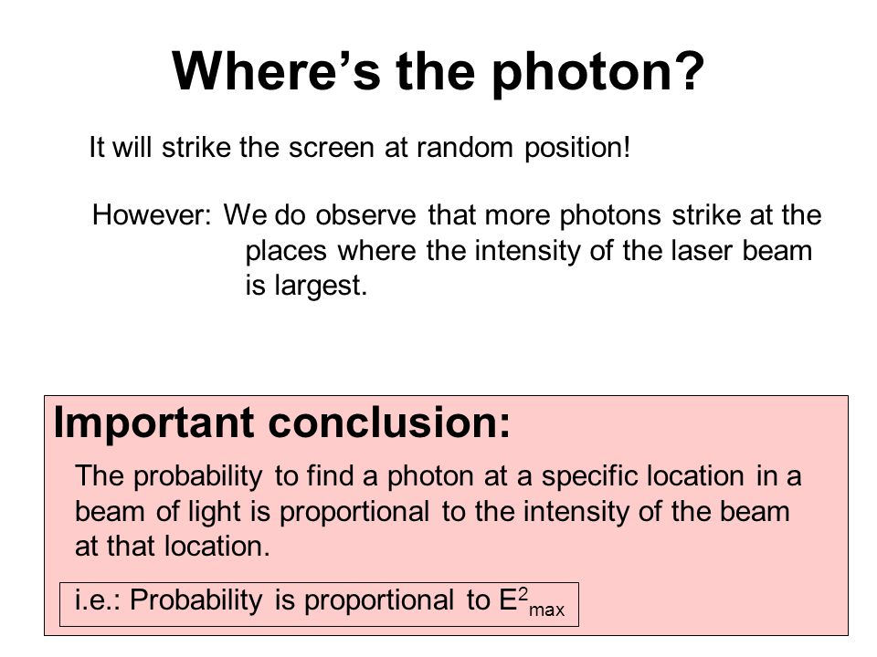 Where's the photon Important conclusion: