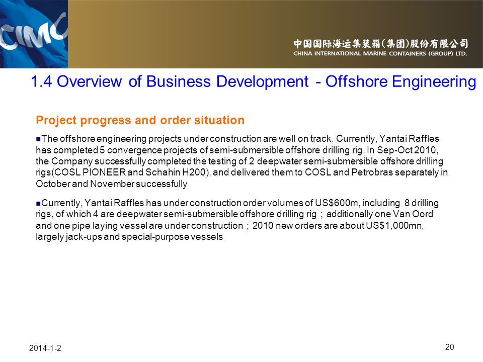 1.4 Overview of Business Development - Offshore Engineering