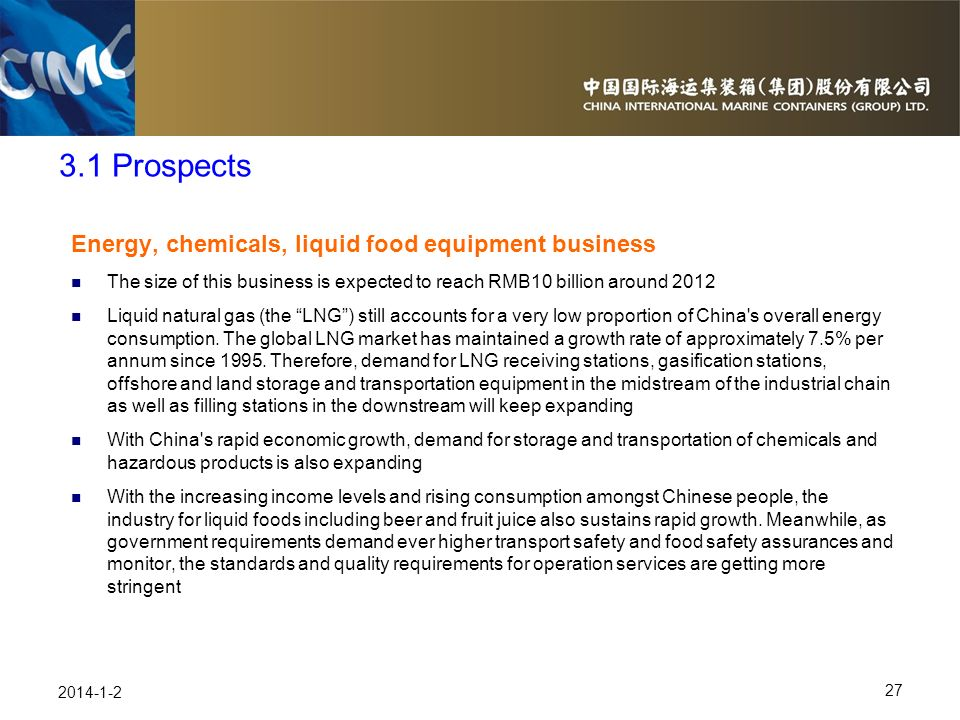 3.1 Prospects Energy, chemicals, liquid food equipment business