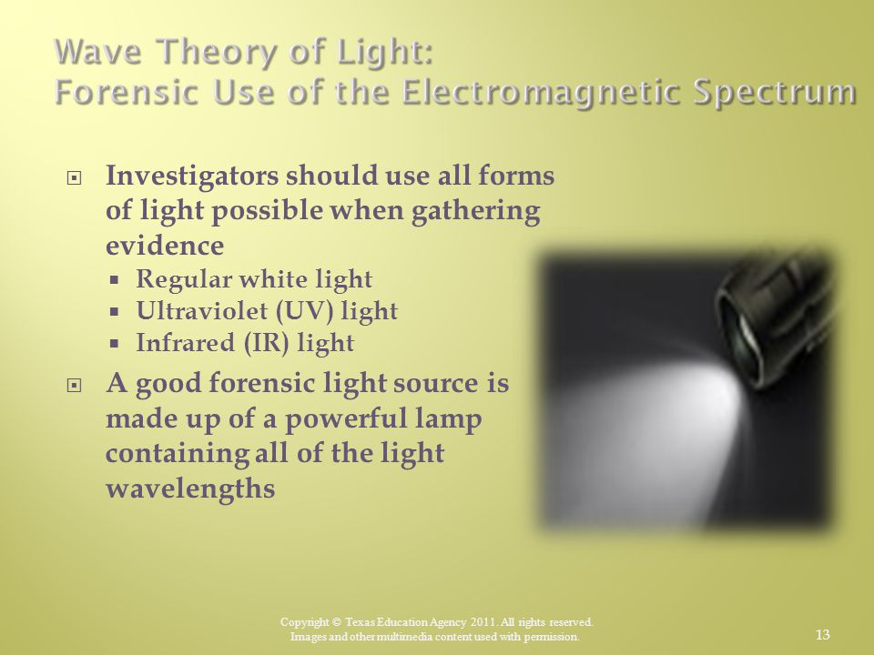 Wave Theory of Light: Forensic Use of the Electromagnetic Spectrum