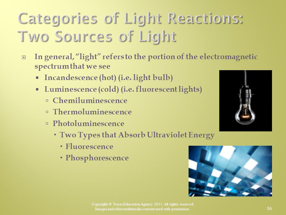 Categories of Light Reactions: Two Sources of Light