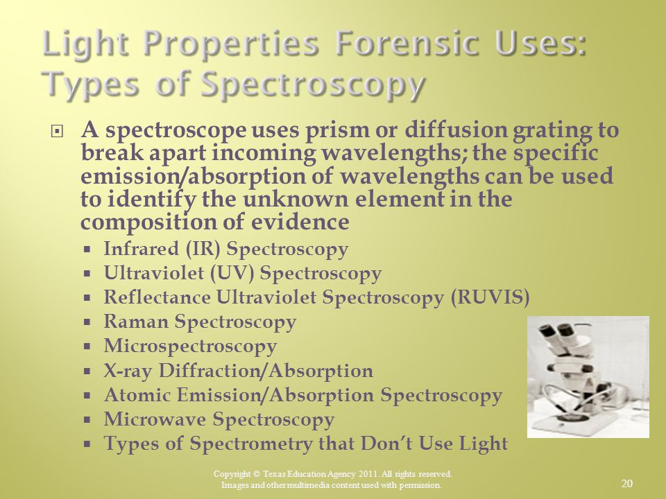 Light Properties Forensic Uses: Types of Spectroscopy