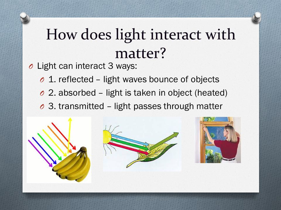 How does light interact with matter