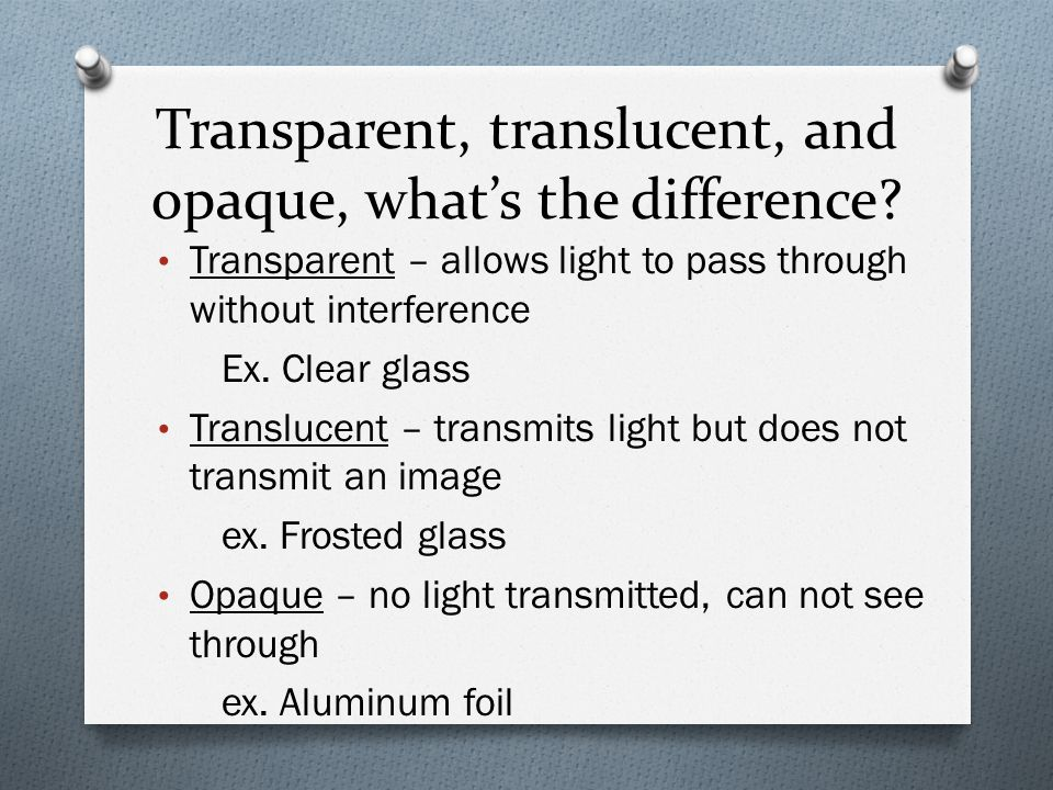 Transparent, translucent, and opaque, what's the difference