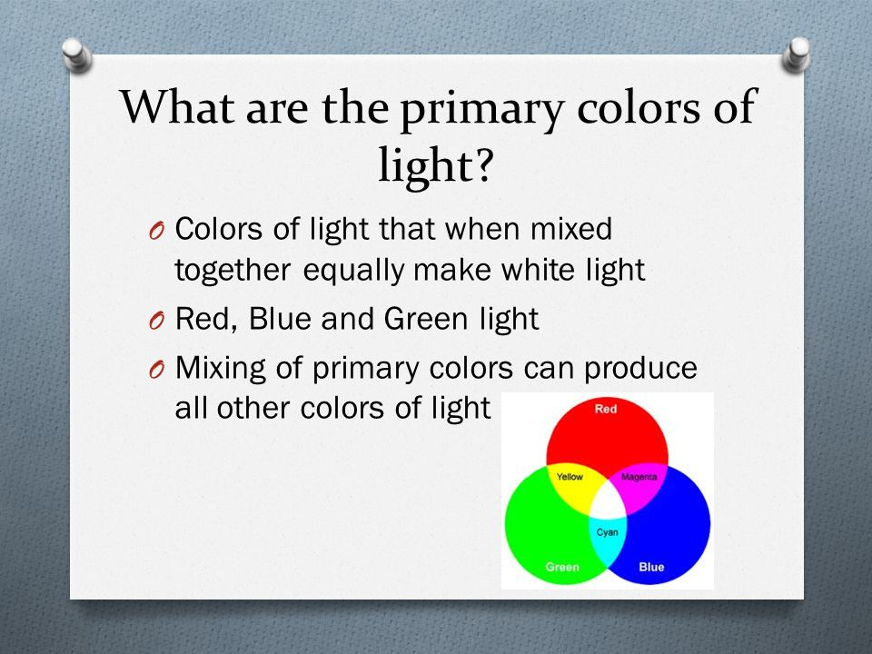 What are the primary colors of light