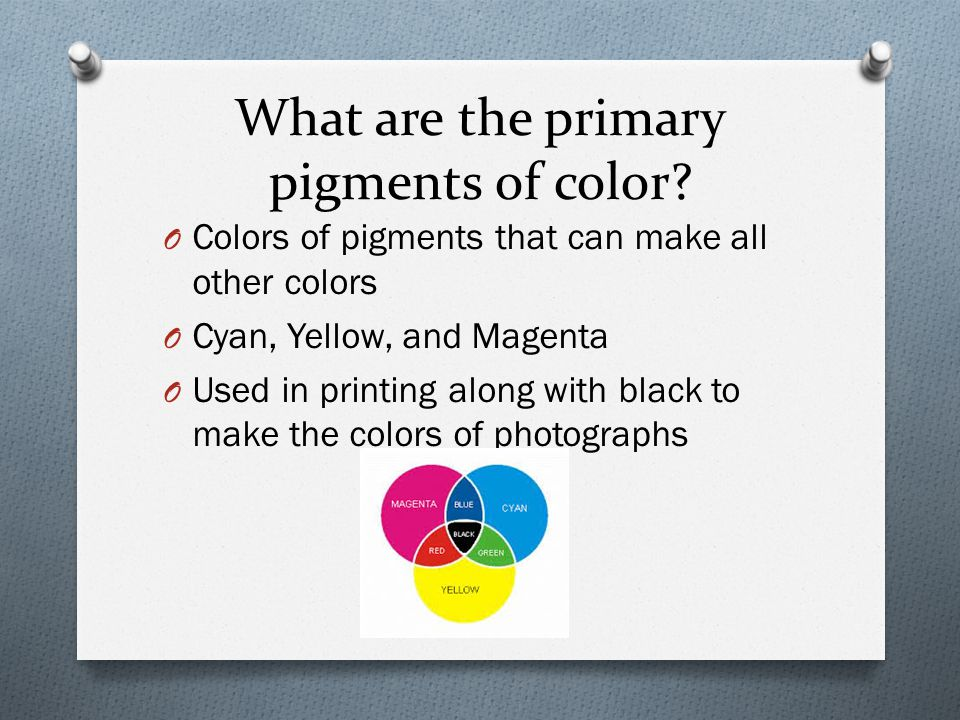 What are the primary pigments of color