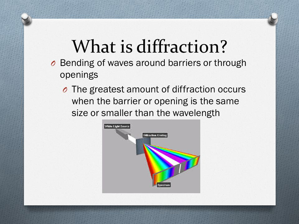 What is diffraction Bending of waves around barriers or through openings.