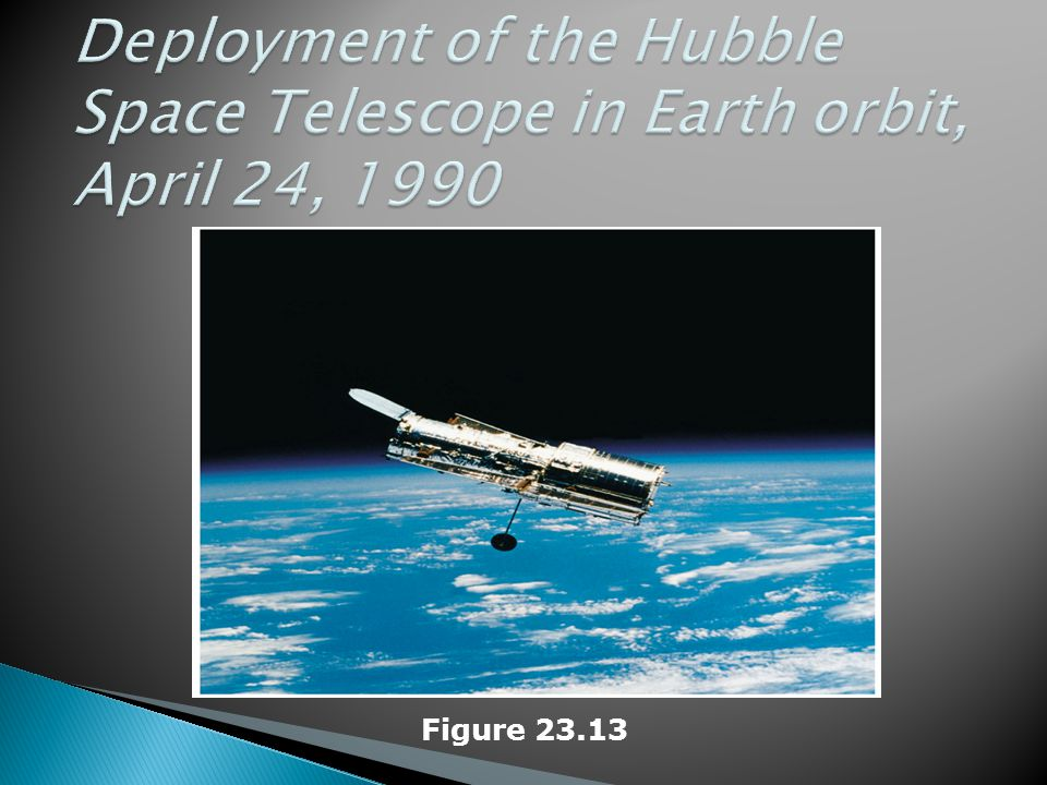 Deployment of the Hubble Space Telescope in Earth orbit, April 24, 1990