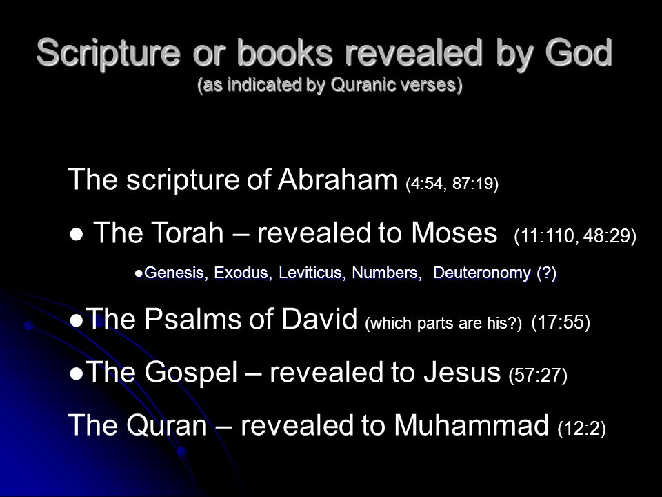 Scripture or books revealed by God (as indicated by Quranic verses)