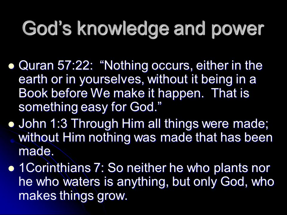 God's knowledge and power