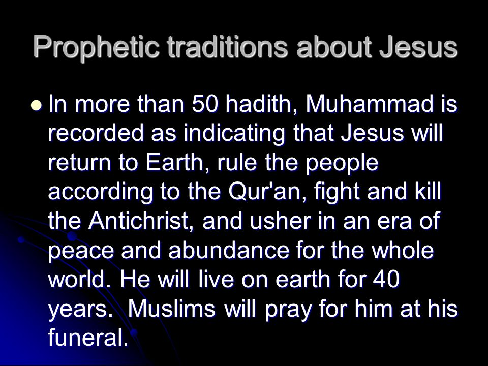 Prophetic traditions about Jesus