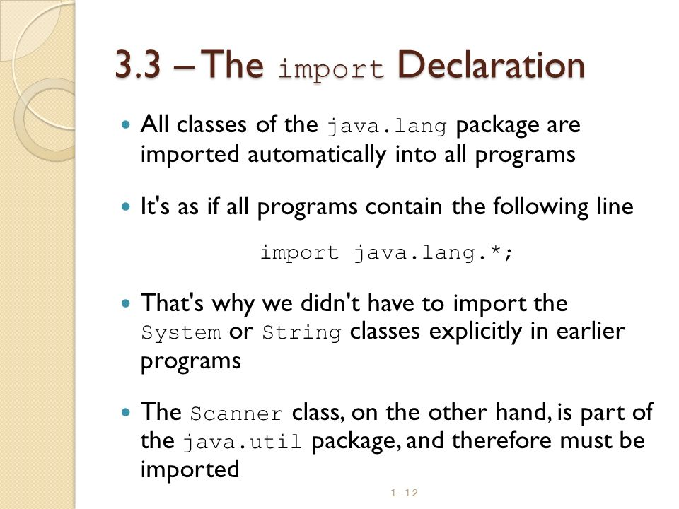 3.3 – The import Declaration
