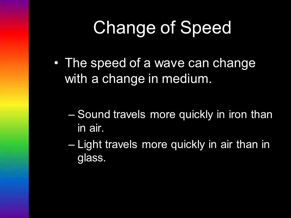 Change of Speed The speed of a wave can change with a change in medium. Sound travels more quickly in iron than in air.