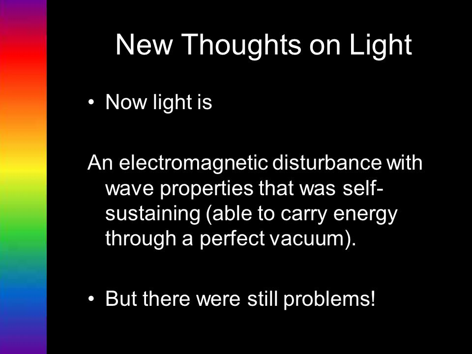 New Thoughts on Light Now light is
