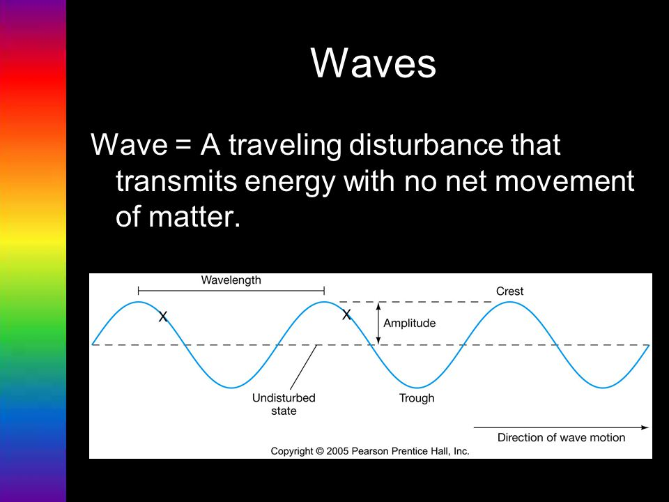 Waves Wave = A traveling disturbance that transmits energy with no net movement of matter.