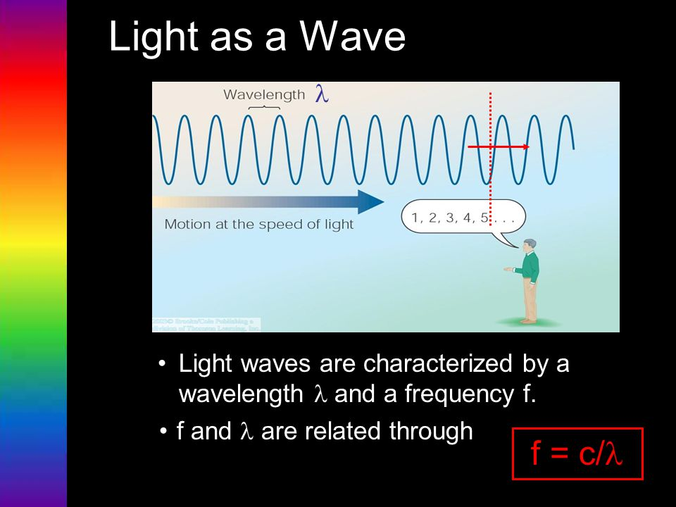 Light as a Wave l. Light waves are characterized by a wavelength l and a frequency f. f and l are related through.