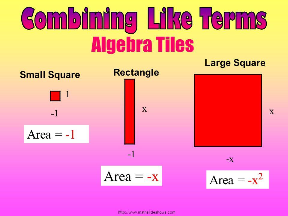 Algebra Tiles Combining Like Terms Area = -x Area = -1 Area = -x2