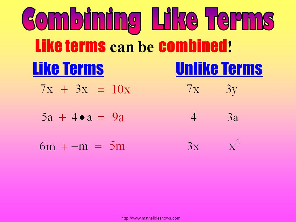 Like terms can be combined! Like Terms Unlike Terms