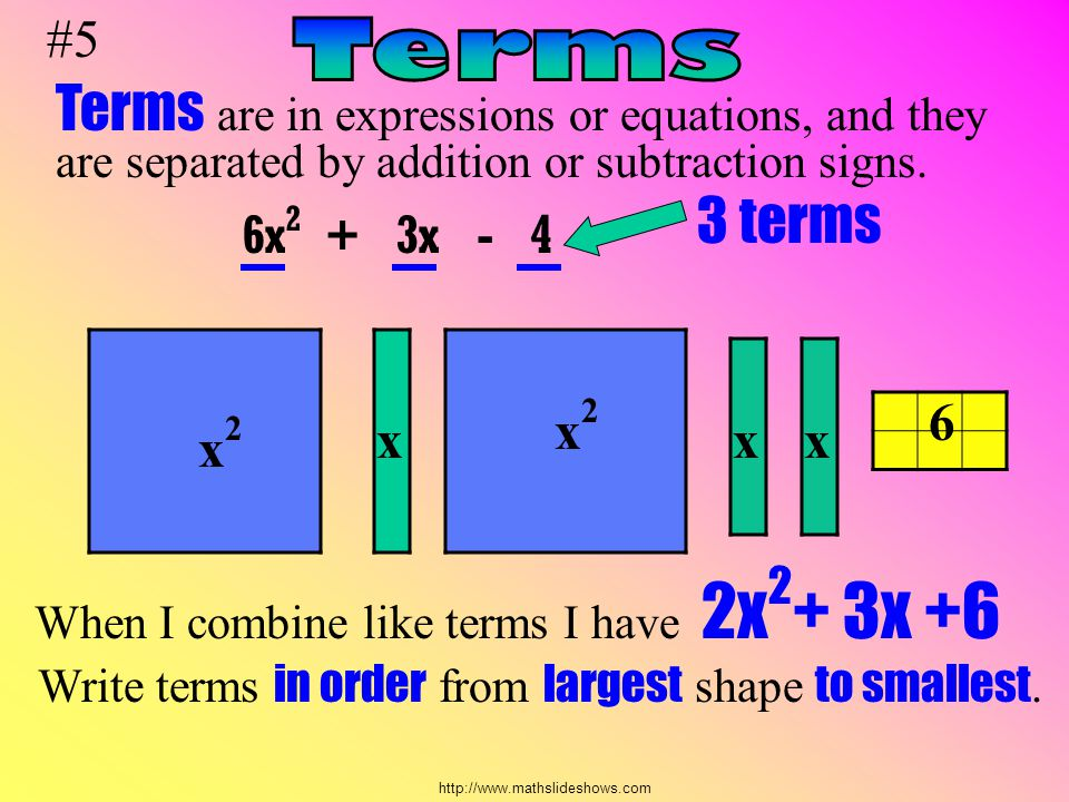 #5 Terms. Terms are in expressions or equations, and they are separated by addition or subtraction signs.